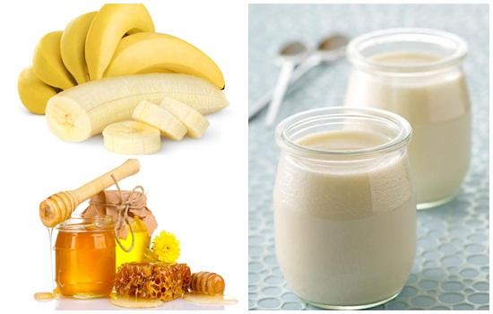 Bí kíp làm trắng da từ chuối + mật ong + sữa chua
